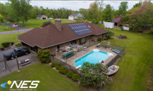 A drone shot of a solar installation at a Syracuse home