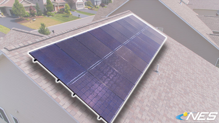 roof mounted solar panel highlighted